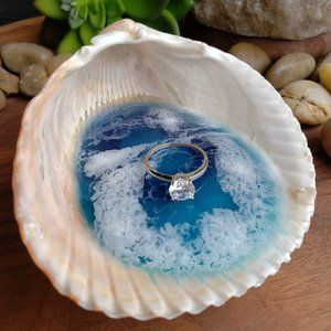 Ocean Resin Large Hand Picked Shell Ring Dish